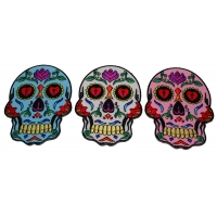 3 Sugar Skull Patches in White Pink and Blue