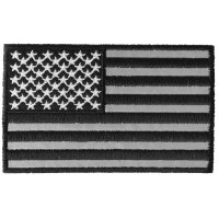 American Flag Black And Reflective 4 Inch Patch | Embroidered Patches