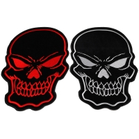 Black and Red and White Large Skull Back Patches set of 2