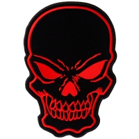 Black Red Large Skull Patch