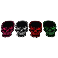 Black Skulls with Red White Green and Pink Embroidery set of 4 Patches