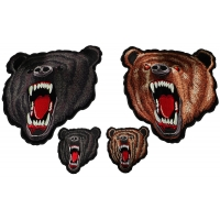 Brown and Black Bears Small and Large Set of 4 Patches