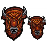 Brown Buffalo Head Small and Medium set of 2 Patches