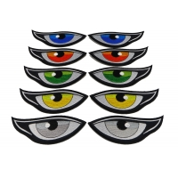 Colored Eyes in Orange Green Yellow Gray and Blue Patches Medium Sized set of 5