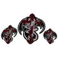 Dragon Around Red Cross Small Medium and Large 3 Piece Patch Set