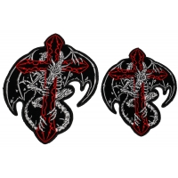 Dragon Skeleton and Cross Small and Medium 2 Piece Patch Set