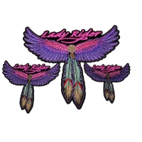 Lady Rider Pink Wings and Feathers Small Medium and Large set of 3 Patches
