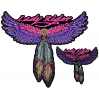 Lady Rider with Pink Wings and Feathers Small and Large set of 2 Patches