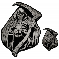Large and Small Reaper Skull with Sand Clock set of 2 Patches