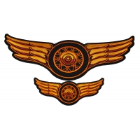 Orange Motorcycle Wheel Spokes And Wings Small Large Patch Set