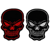 Red and White Embroidered Skulls set of 2 Patches
