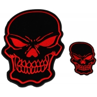 Red Skulls Small and Large set of 2 Patches