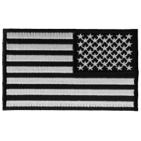 Reversed US Flag Black White Patch 4 Inch | Embroidered Patches