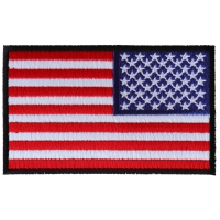 Reversed US Flag Patch 4 Inch Black Border | Embroidered Patches