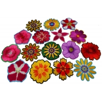 Set of 16 Colorful Pretty Flower Iron on Patches