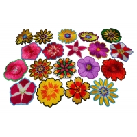 Set of 19 Small 3 inch Embroidered Iron on Flower Patches