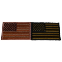 Set of 2 American Flag Patches in Rustic Brown and Green Colors