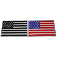 Set of 2 American Flag Patches with Black Border 5 inches