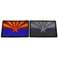 Set of 2 Arizona State Flag Patches in Color and Blue Stripe