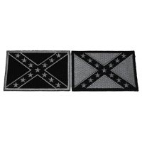 Set of 2 Black and White Rebel Flag Patches