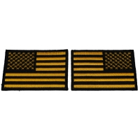 Set of 2 Black and Yellow American Flag Patches in Regular and Reversed