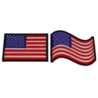 Set of 2 Black Border US Flag Patches Rectangular and Waving