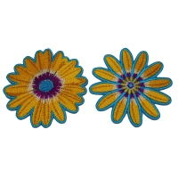 Set of 2 Blue and Yellow Flower Patches
