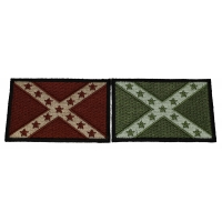 Set of 2 Brown and Green Rebel Flag Patches