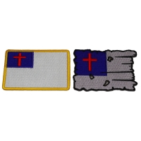 Set of 2 Christian Flag Patches Tattered and Regular