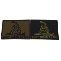 Set of 2 Don't Tread on Me Flag Patches in Army Green