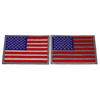 Set of 2 Gray Bordered US Flag Patches Reflective and White Stripes