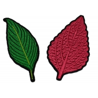 Set of 2 Leaf Patches Autumn and Green Colors