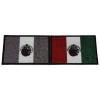 Set of 2 Mexican Flag Patches in Color and Gray