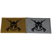 Set of 2 Molon Labe Come and Take it Flag Patches in Gray and Mustard Colors