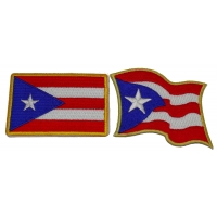 Set of 2 Puerto Rico Flag Patches Waving and Rectangular