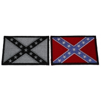 Set of 2 Rebel Flag Patches in Color and Black and Gray