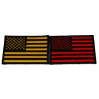 Set of 2 Red and Yellow American Flag Patches