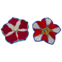 Set of 2 Red White Flower Patches
