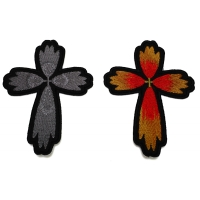 Set of 2 Small Christian Cross Patches in Gray and Color