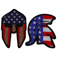 Set of 2 Spartan Helmet with American Flag Patches