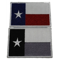 Set of 2 Texas Flag Patches Monochrome and Rusty Colors