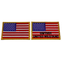 Set of 2 Yellow Border American Flag Patches in memory of Sept 11 2001