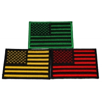 Set of 3 American Flag Patches in Green Yellow and Red Stripes and Stars