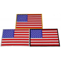Set of 3 American Flag Patches RWB with Black White and Yellow Borders