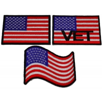 Set of 3 Black Bordered American Flag Patches