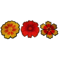Set of 3 Orange Flower Patches