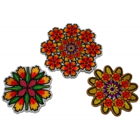 Set of 3 Pretty Colorful Flower Patches