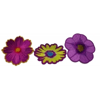 Set of 3 Purple Flower Patches