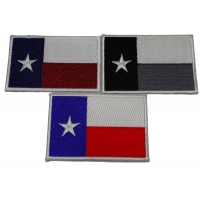 Set of 3 Texas Flag Patches in different Colors