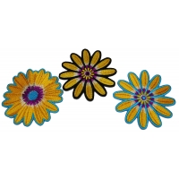 Set of 3 Yellow Flower Patches